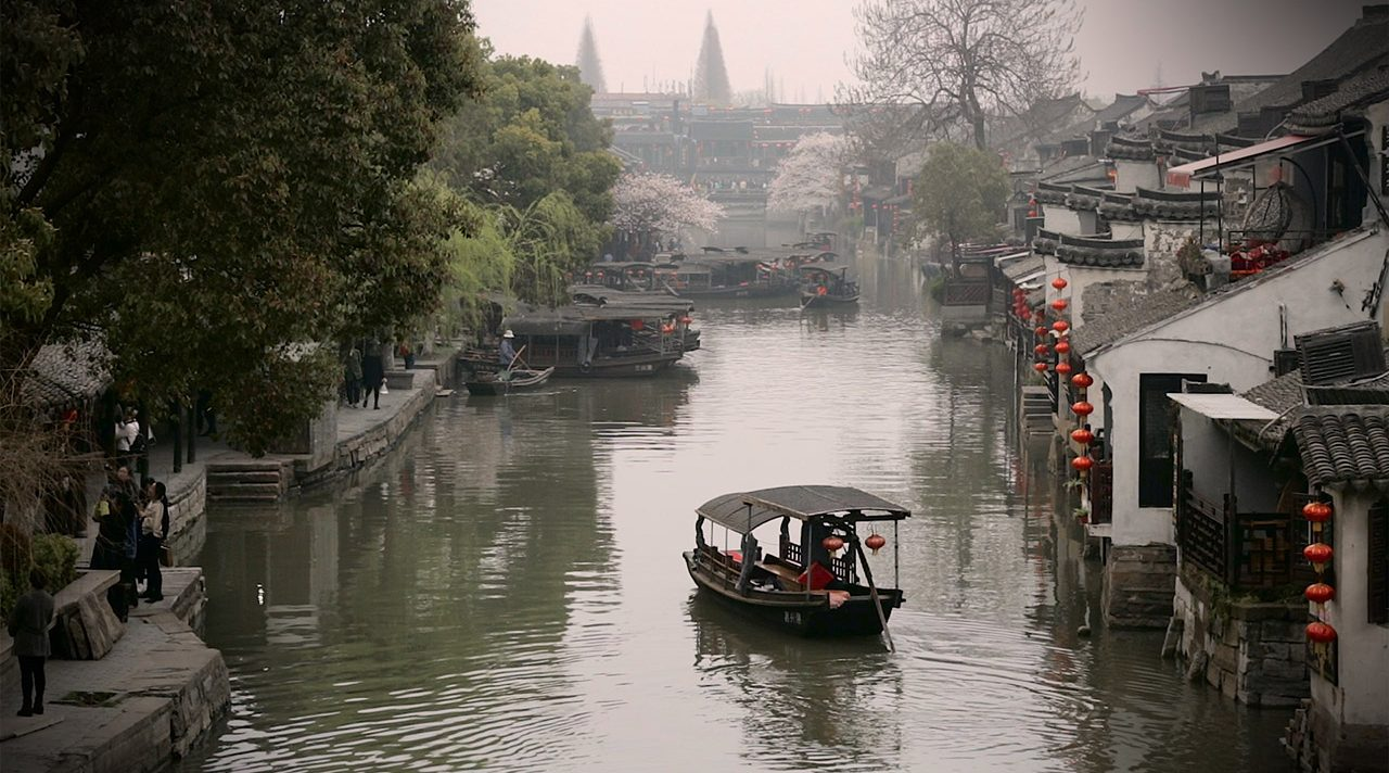 Boat floating in Xitang Water Village Shanghai | ANYDOKO | Travel Videos