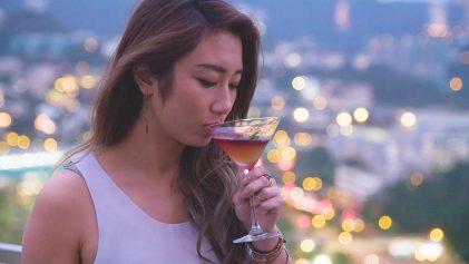 Phoebe Miu Drinking Cocktail in Hong Kong | Best Rooftop Bars In Hong Kong | Hong Kong Travel Video | ANYDOKO