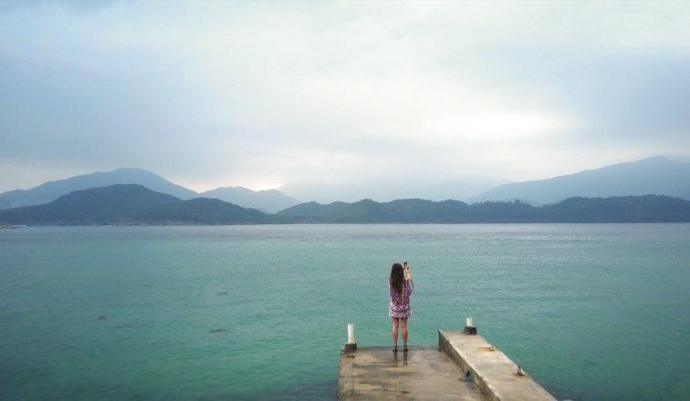 Phoebe Miu taking photo on jetty at Sharp Island   Hiking on Sharp Island in Hong Kong   Hong Kong Travel Video   Shorts   ANYDOKO